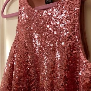 Pink sequined sleeveless top